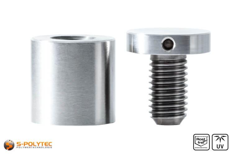 Distanzstück und Schraubenkopf Abstandshalter 25x25mm aus rostfreiem Stahl