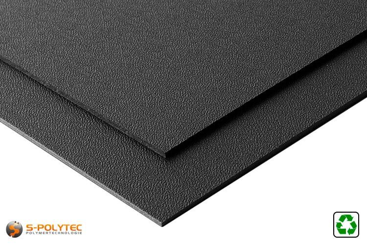 HDPE Platte schwarz mit Narbung aus Recyclingmaterial im Format 2x1 Meter