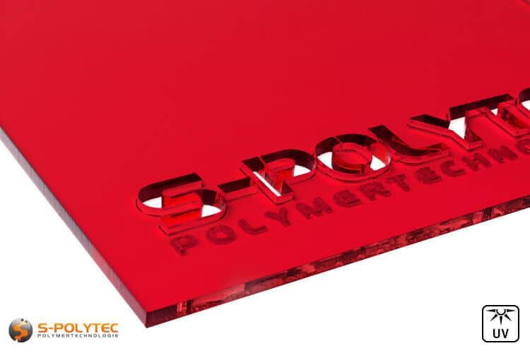 Acrylglas rot durchsichtig im Laserzuschnitt