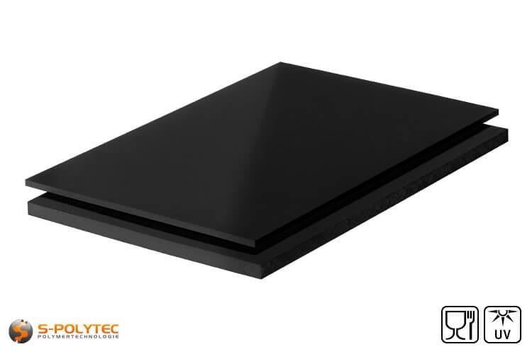 Polyethylen (PE-UHMW, PE-1000) Platten schwarz mit glatter Oberfläche in Stärken von 8mm - 80mm als Standardplatte 2,0 x 1,0 Meter