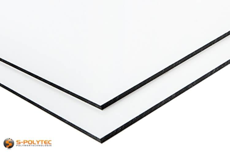 Alu-verbundplatten (Alu-dibond) in weiß auf Maß kaufen - Detailansicht