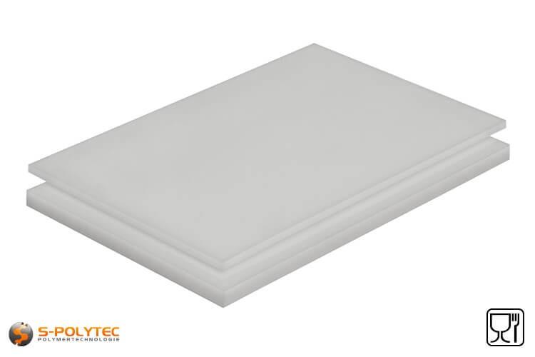 Polyethylen (PE-HMW, PE-500) Platten natur mit glatter Oberfläche in Stärken von 10mm - 100mm als Standardplatte 2,0 x 1,0 Meter