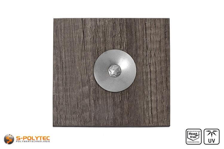 Balkonschraube unlackiert auf HPL Platte in Holzdekor