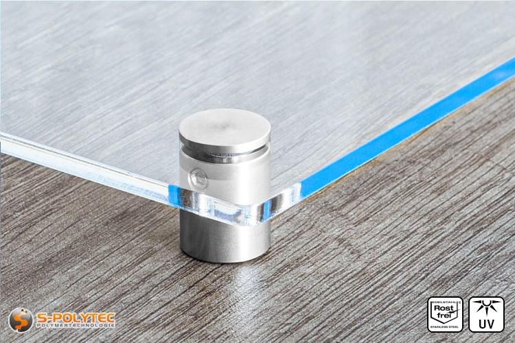 Schilderhalter 15x15mm flacher Kopf aus Edelstahl mit Acrylglasschild