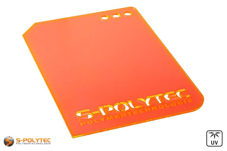 Acrylglas orange fluoreszierend gelasert (Laserzuschnitte)