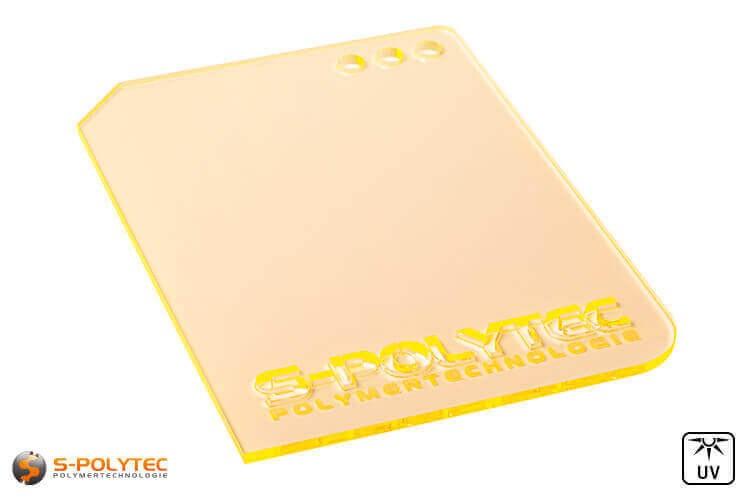 Acrylglas gelb fluoreszierend gelasert (Laserzuschnitte)