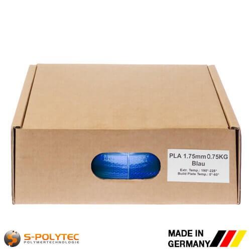 PLA-Filament blau (ähnlich RAL5005, Signalblau) in hoher Qualität vakuumverpackt in verschiedenen Stärken als 0,75kg Spule