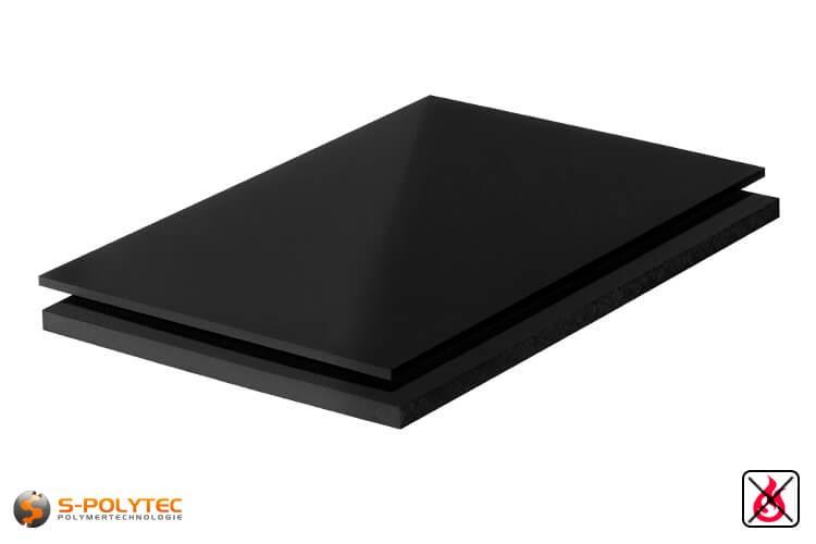 PVC Platten schwarz aus Hart-PVC (PVCU) in Stärken von 1mm - 40mm im Standardformat  2x1m