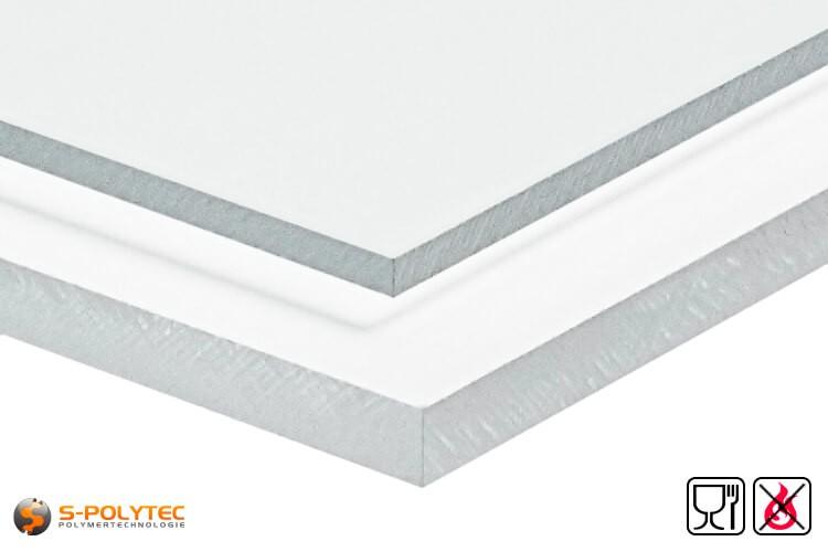 PETG Platten transparent lebensmittelkonform, schwer entflammbar als Standardplatte 2,0 x 1,0 Meter