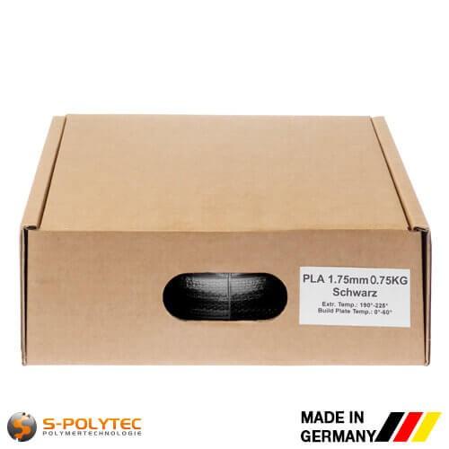 PLA-Filament schwarz (ähnlich RAL9005, Tiefschwarz) in hoher Qualität vakuumverpackt in verschiedenen Stärken als 0,75kg Spule