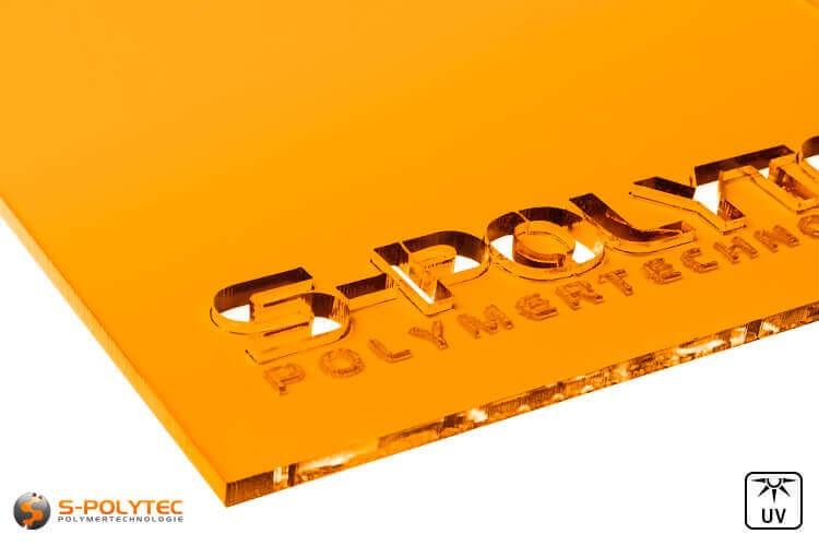 Acrylglas orange durchsichtig im Laserzuschnitt