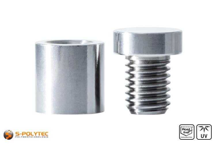 Distanzstück und Schraubenkopf Abstandshalter 15x15mm aus rostfreiem Stahl