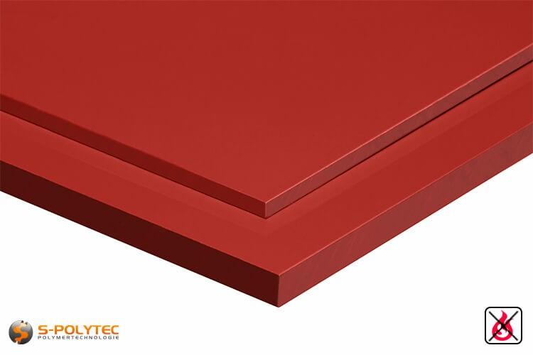 PVC Platten rot aus Hart-PVC (PVCU) in Stärken von 2mm - 10mm - Detailansicht