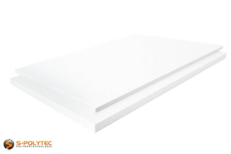 PTFE Platten (Teflon) in Weiß, Natur in Stärken von 1mm - 20mm