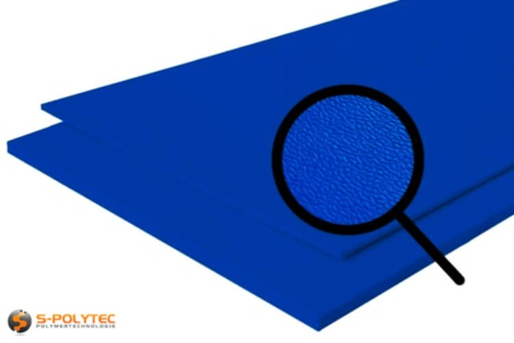 Polyethylen (PE) Platten blau (ähnlich RAL 5005) mit beidseitiger Narbung 19mm