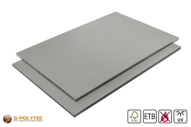 HPL Platte RAL7037 Staubgrau schwer entflammbar mit ETB Absturzsicherung in 6mm und 8mm