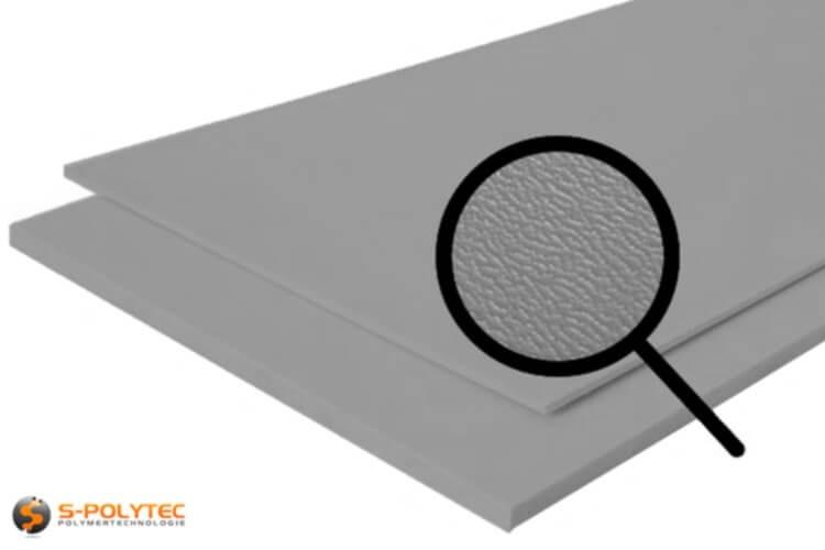 Polyethylen (PE) Platten grau (ähnlich RAL 7042) mit beidseitiger Narbung 19mm