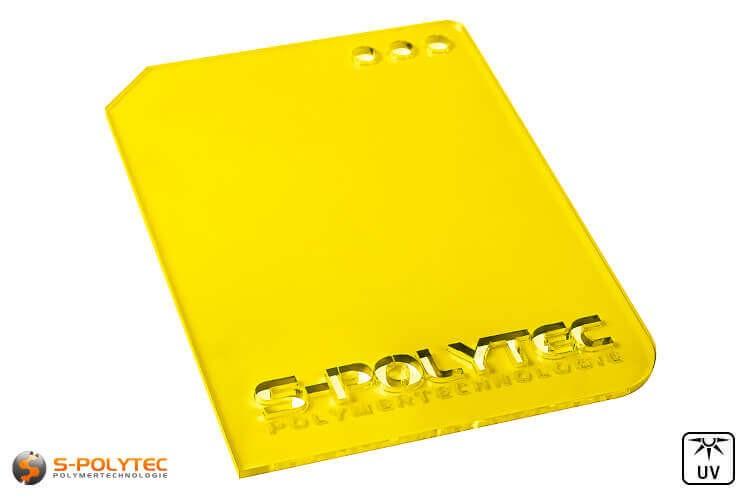 Acrylglas gelb durchsichtig im Laserzuschnitt