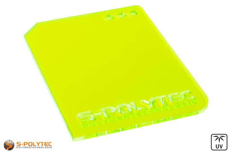 Acrylglas grün fluoreszierend gelasert (Laserzuschnitte)