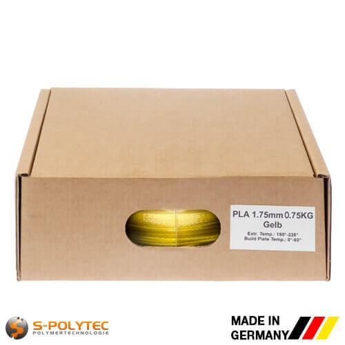 PLA-Filament Gelb in hoher Qualität vakuumverpackt in verschiedenen Stärken als 0,75kg Spule