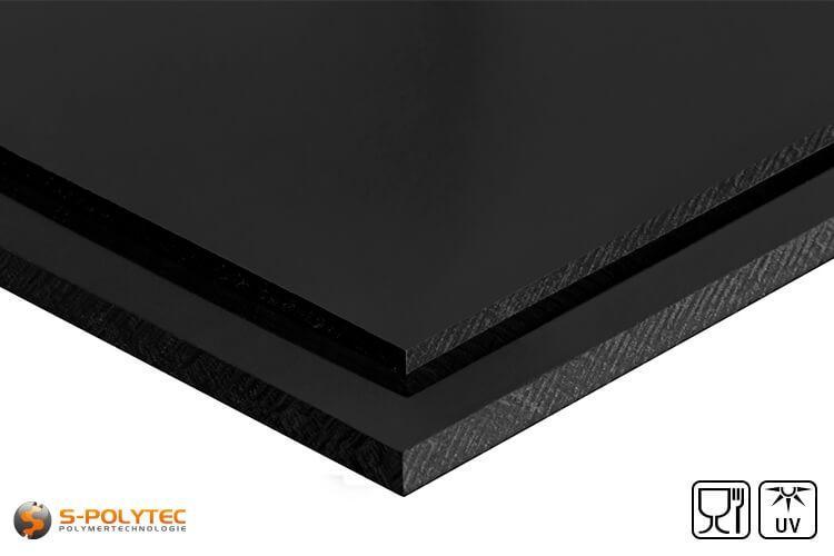 Polyethylen (PE-HMW, PE-500) Platten schwarz mit glatter Oberfläche in Stärken von 10mm - 100mm als Standardplatte 2,0 x 1,0 Meter