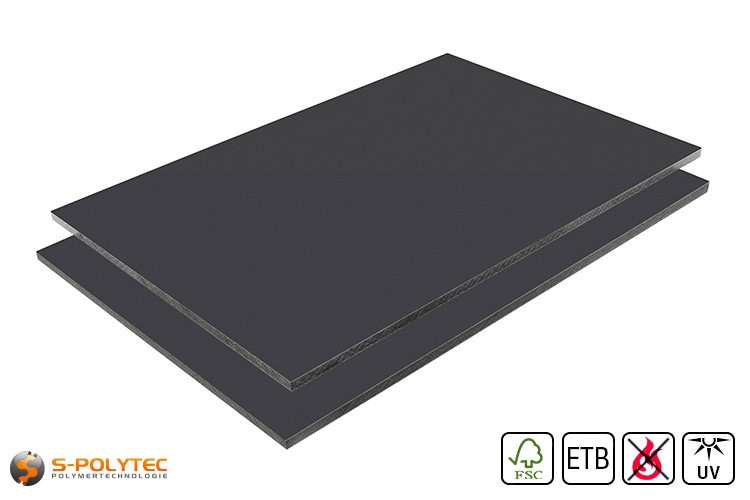 HPL Platte RAL7016 Anhrazit schwer entflammbar mit ETB Absturzsicherung in 6mm und 8mm