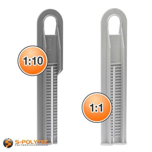 Schieber Klebepistole für 2-Komponentenkleber für Mischverhältnis 1:1 und 1:10
