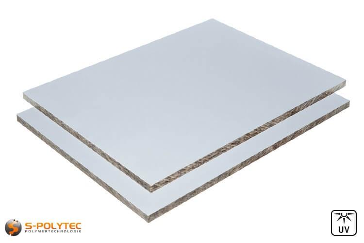 Wetterfeste HPL Platten in silbergrau mit 6mm oder 8mm Stärke im Zuschnitt  - Detailansicht