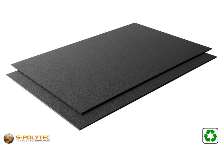ABS Platte Regenerat als ganze Platte - schwarz mit einseitig genarbter Oberfläche