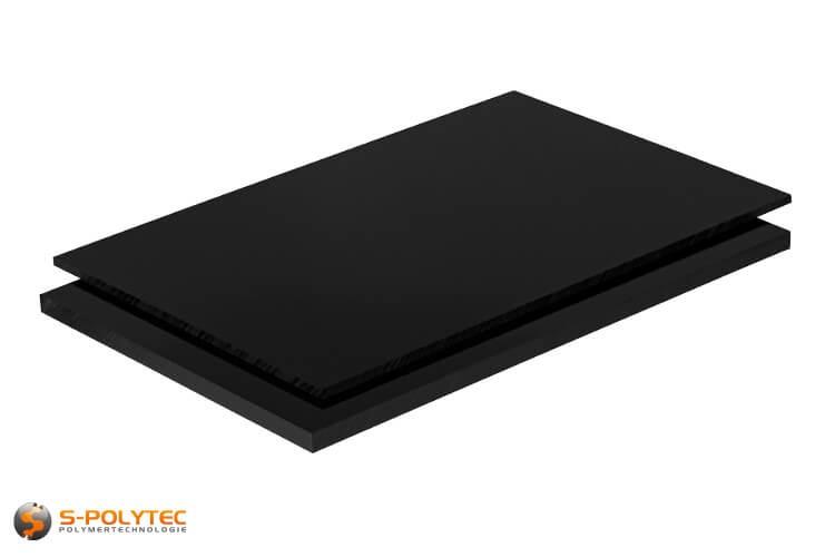 ABS Platten in schwarz (ähnlich RAL9005, Tiefschwarz) mit glatter Oberfläche in Stärken von 1mm - 10mm als Standardplatte 2,0 x 1,0 Meter