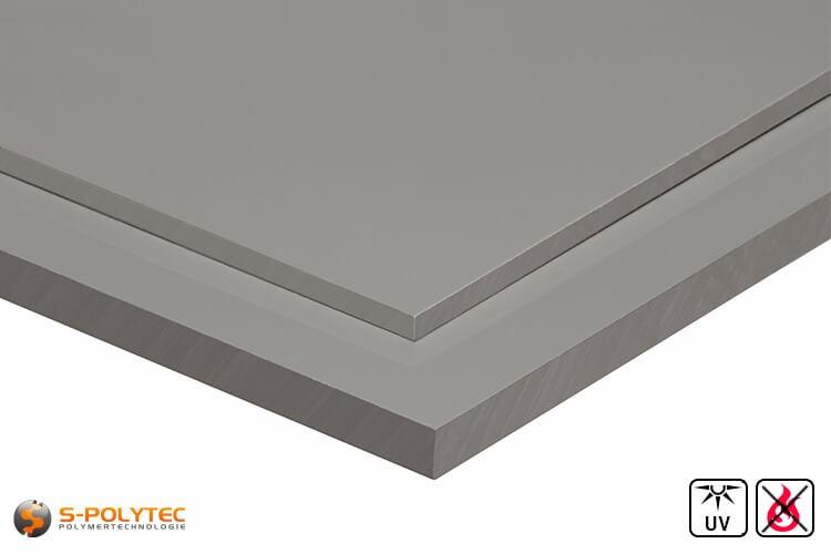 PVC Platten Hellgrau aus Hart-PVC (PVCU) in Stärken von 3mm - 30mm - Detailansicht