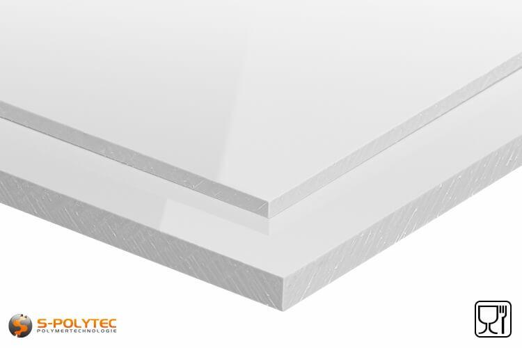 Polypropylen Platten (PP-H) weiß (ähnlich RAL9016) in Stärken von 10mm - 20mm als Standardplatte - Detailansicht