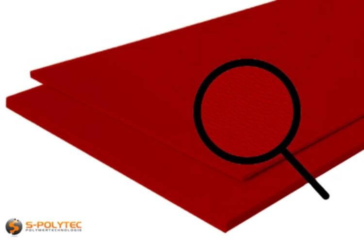 Polyethylen (PE) Platten rot (ähnlich RAL 3001) mit beidseitiger Narbung 19mm