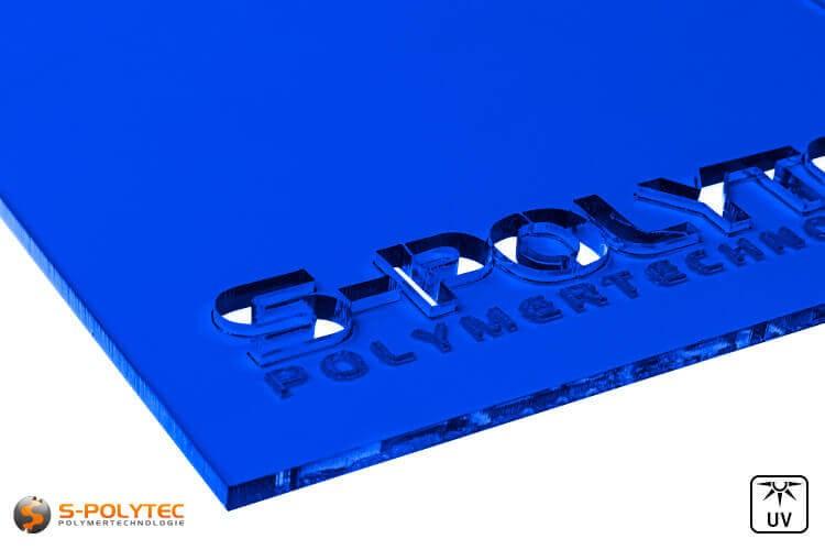 Acrylglas blau durchsichtig im Laserzuschnitt