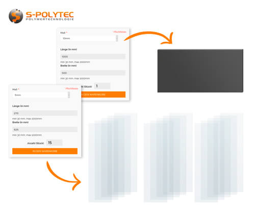 Plastic sheets in custom cut online via our configurator from S-Polytec